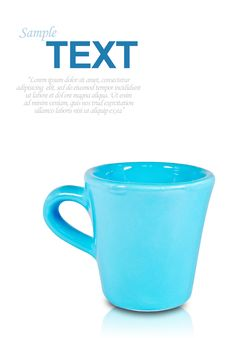 Free Blue Coffee Cup With Copyspace Isolated Royalty Free Stock Photography - 16771297