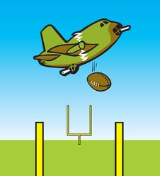 Bomber Dropping Football Royalty Free Stock Image