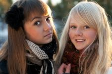 Free Portrait Two Young Beautiful Girls Stock Images - 16772754