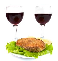 Free Grilled Fish And A Glass Of Wine Stock Photography - 16772972