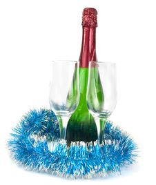 Champagne And Wine Glasses Stock Image