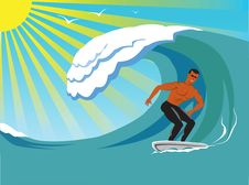 Free Surfer. Royalty Free Stock Photo - 16773465