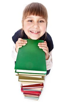 Schoolgirl With Books Is Looking Up Royalty Free Stock Photo