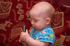Free Little Boy With Mobile Phone Stock Photography - 16774002