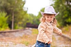 Free Cawgirl On The Railway Royalty Free Stock Photo - 16776525