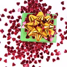Gift And Heart Shaped Confetti Stock Image