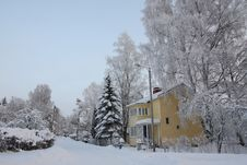Wooden Finnish House In Winter Stock Photography