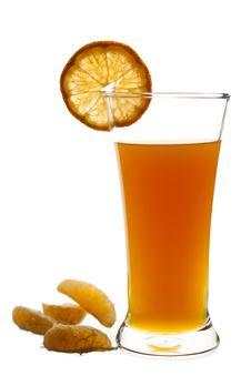 Glass Of Freshly Squeeze Orange Fruit Juice Royalty Free Stock Photography
