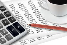 Calculator, Cup Of Coffee And Office Supplies. Stock Photography