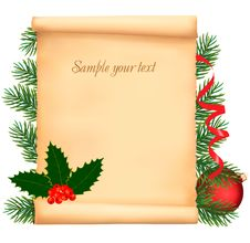 Christmas Decorations On The Old Paper. Royalty Free Stock Photography