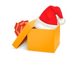 Christmas Gift Box And Santa Hat Stock Image
