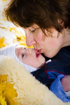 Mothers Kiss Royalty Free Stock Image