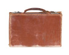 Free Old Fashioned Leather Suitcase, Isloated On White Stock Photography - 16780152