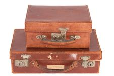 Free Two Old Fashioned Leather Suitcases Stock Images - 16780314