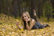 Free Girl On Leaves Stock Photo - 16781340