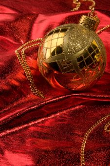 Free Gold Baubles With Red Backdrop Stock Image - 16781461