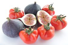 Free Fresh Figs And Tomatoes For Salad On White Backgro Stock Photo - 16781520