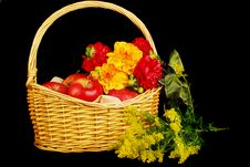 Free Autumn Basket With Apples And Flowers Royalty Free Stock Images - 16783089