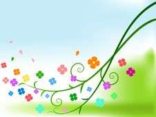 Free Abstract Color Flowers With Curly Branches Stock Image - 16783331