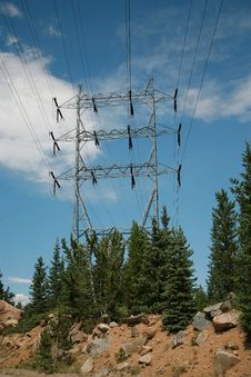 Free High Power Line In Colorado Mountains Stock Photography - 16783912