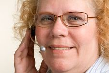 Free Mature Woman On Telephone Headset Royalty Free Stock Images - 16784149