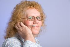 Free Mature Woman On Telephone Headset Royalty Free Stock Photos - 16784198