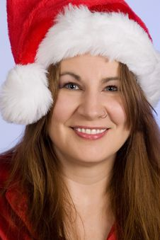 Free Woman Wearing Santa Hat Royalty Free Stock Image - 16784286