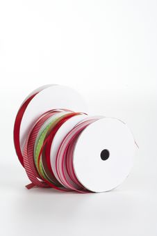 Free Five Spools Of Ribbon In A Row Stock Image - 16784831