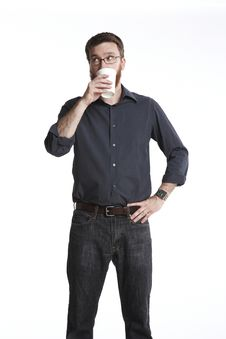 Free Looking Over While Sipping Stock Image - 16784861