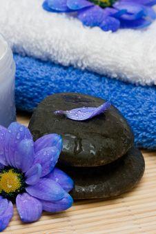 Cream, Stones And Towel Stock Photo