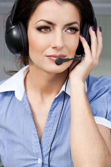 Free Girl Commentator With Headset Stock Photo - 16786270