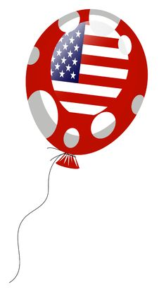 Red Balloon Of American Flag Stock Photography
