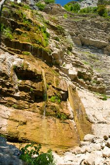 Dry Waterfall In Summer Stock Photography