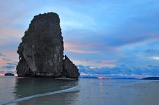 Sunset Behind The Island Of Krabi Stock Photos