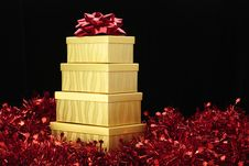 Gold Boxes Red Bow Red Garland