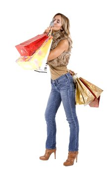 Free Sexy Blond Woman With Shopping Bags Royalty Free Stock Images - 16789419
