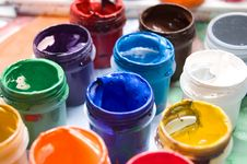 Free Closeup Of Buckets With Colorful Paints In Rows Stock Photography - 16789502