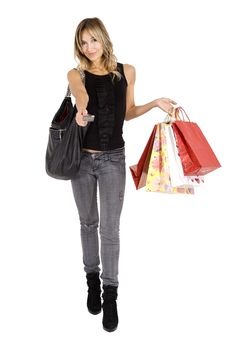 Free Sexy Blond Woman With Shopping Bags Stock Photos - 16789633