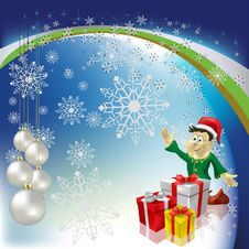 Free Christmas Greeting Dwarf With Gifts Royalty Free Stock Image - 16789726
