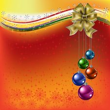 Free Christmas Greeting Gold Bow With Balls On A Red Royalty Free Stock Photo - 16789765