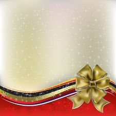 Free Christmas Greeting Gold Bow With Ribbons Stock Photo - 16789900