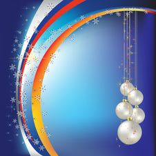 Free Christmas Greeting Pearl Balls On Blue Royalty Free Stock Images - 16789939