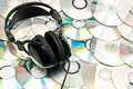 Free CDs Background With Headphones Stock Images - 16790694