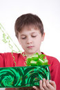 Free The Boy Has Received A Gift Stock Photography - 16795052