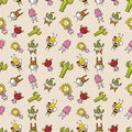 Free Cute Cartoon Seamless Pattern Royalty Free Stock Photo - 16795075