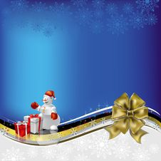 Christmas Greeting Snowman With Gifts And Bow Royalty Free Stock Photos