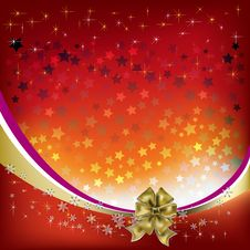 Free Christmas Greeting With Gold Bow Stock Photos - 16790343