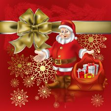 Free Santa Claus With Christmas Gifts On Red Stock Image - 16790491