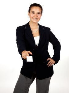 Free Young Hispanic Woman Holding A Blank Business Card Stock Photo - 16794560