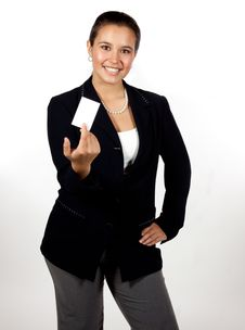 Free Young Hispanic Woman Holding A Blank Business Card Royalty Free Stock Photography - 16794567